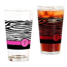 Pink Letter T Zebra stripe Drinking Glass