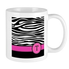 Pink Letter T Zebra stripe Mugs