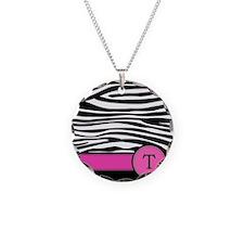 Pink Letter T Zebra stripe Necklace