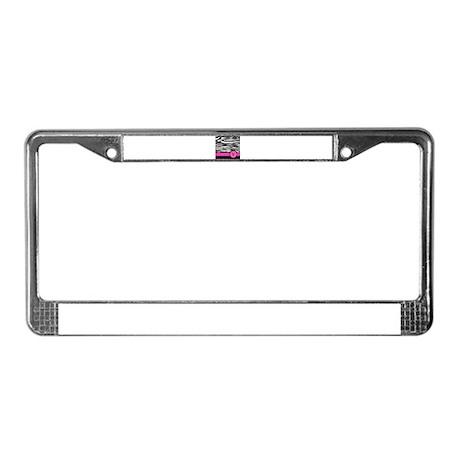 Pink Letter V Zebra stripe License Plate Frame