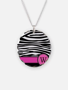 Pink Letter W Zebra stripe Necklace
