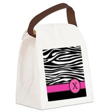 Pink Letter X Zebra stripe Canvas Lunch Bag