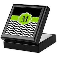 Black Green Monogram Keepsake Box