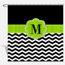 Black Green Monogram Shower Curtain