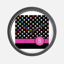 Pink Letter B Monogram rainbow polka dot Wall Cloc