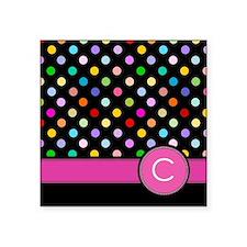 Pink Letter C Monogram rainbow polka dot Sticker