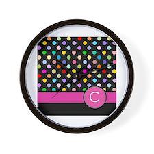 Pink Letter C Monogram rainbow polka dot Wall Cloc