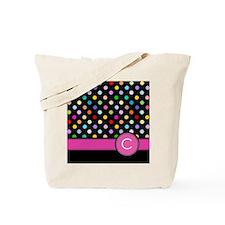 Pink Letter C Monogram rainbow polka dot Tote Bag