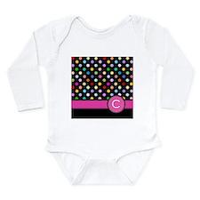 Pink Letter C Monogram rainbow polka dot Body Suit