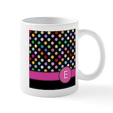 Pink Letter E Monogram rainbow polka dot Mugs