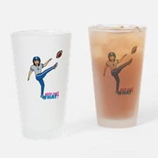 Girl Playing Football Medium Drinking Glass