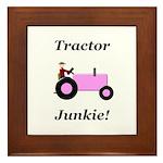 Pink Tractor Junkie Framed Tile