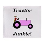 Pink Tractor Junkie Throw Blanket