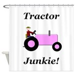 Pink Tractor Junkie Shower Curtain