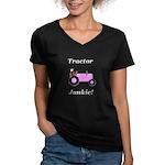 Pink Tractor Junkie Women's V-Neck Dark T-Shirt