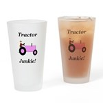 Pink Tractor Junkie Drinking Glass