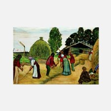 Boris Kustodiev - Threshing, Kust Rectangle Magnet
