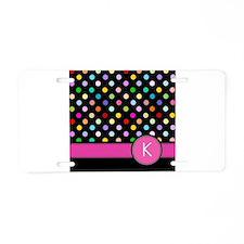 Pink Letter K Monogram rainbow polka dot Aluminum