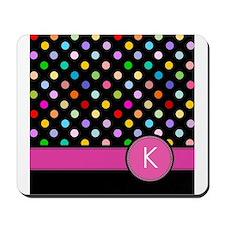 Pink Letter K Monogram rainbow polka dot Mousepad