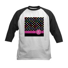 Pink Letter K Monogram rainbow polka dot Baseball