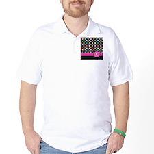 Pink Letter K Monogram rainbow polka dot T-Shirt