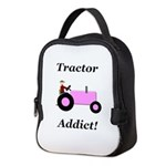 Pink Tractor Addict Neoprene Lunch Bag