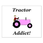 Pink Tractor Addict Small Poster