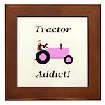 Pink Tractor Addict Framed Tile