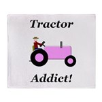 Pink Tractor Addict Throw Blanket