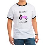 Pink Tractor Addict Ringer T