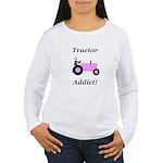 Pink Tractor Addict Women's Long Sleeve T-Shirt