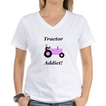 Pink Tractor Addict Women's V-Neck T-Shirt