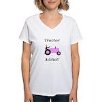 Pink Tractor Addict Women's V-Neck T-Shirt