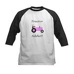 Pink Tractor Addict Kids Baseball Jersey