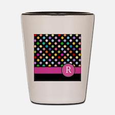 Pink Letter R Monogram rainbow polka dot Shot Glas