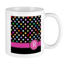 Pink Letter R Monogram rainbow polka dot Mugs