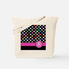 Pink Letter R Monogram rainbow polka dot Tote Bag