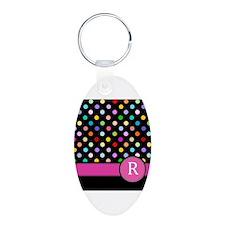 Pink Letter R Monogram rainbow polka dot Keychains