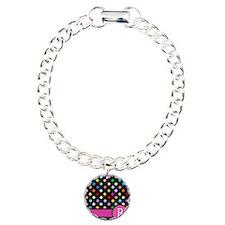 Pink Letter R Monogram rainbow polka dot Bracelet