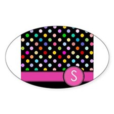 Pink Letter S Monogram rainbow polka dot Decal