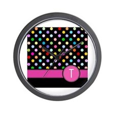 Pink Letter T Monogram rainbow polka dot Wall Cloc