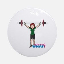 Weight Lifter Light/Red Ornament (Round)
