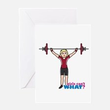 Weight Lifter Light/Red Greeting Card