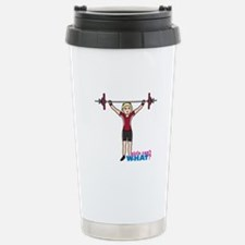 Weight Lifter Light/Red Stainless Steel Travel Mug