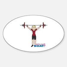 Weight Lifter Light/Red Sticker (Oval)