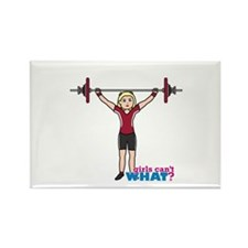 Weight Lifter Light/Red Rectangle Magnet