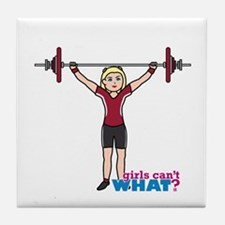 Weight Lifter Light/Red Tile Coaster