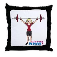 Weight Lifter Light/Red Throw Pillow