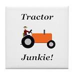 Orange Tractor Junkie Tile Coaster