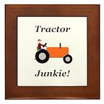 Orange Tractor Junkie Framed Tile